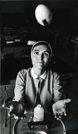 Image: di75303 - Unknown nun attempting science experiment.