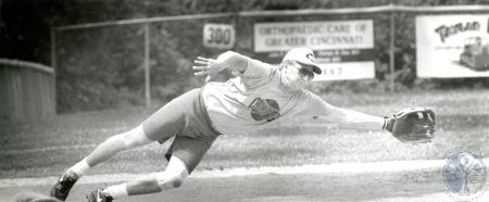 Image: di75947 - Unidentified softball player diving for the ball.
