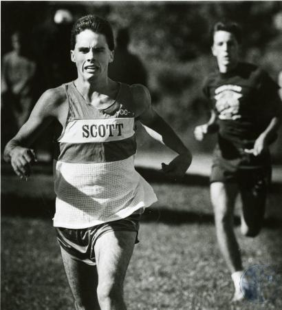 Image: di76223 - Unidentfied Scott High School cross country runner. Runner in background also not identified