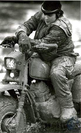Image: di76503 - Les Haskett (14) and his mud covered Kawasaki 160 he just got for Christmas