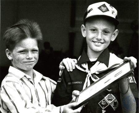 Image: di77559 - Gary Lee Runge Jr., (9), who got a boy scount national award for saving the life of Jonathan Young (8),....