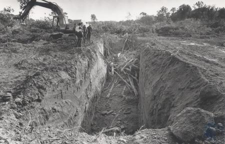 Image: di80371 - Construction of the new runway at the Greater Cincinnati International Airport. Trees cleared by bulldozers....