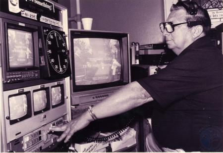 Image: di82703 - Tom Wilson, director of the Sunshine Club Show at the Latonia Baptist Church works in the control room....