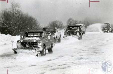 Image: di83163 - The plowing Lusby's. Rick in the GMC. Bill in the Dodge. Bob in the Blazier. Tim in the GMC and their....