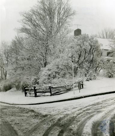 Image: di83414 - Snowy intersection of Park Road and Fortside Drive.