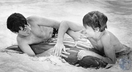 Image: di85209 - Brad Muller (12), and Billy Heban (11) at the Brookwood Swim Club.