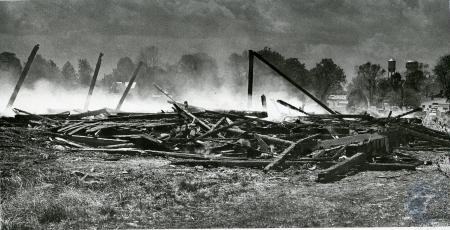 Image: di85784 - Remains of barn on Center Street in Warsaw. Barn owned by Frank Connely.