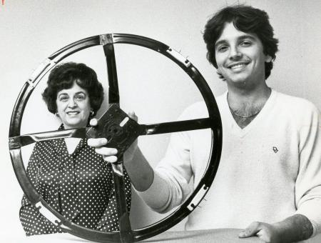 Image: di88328 - Mary and Pete Rodish with safety lawnmower blade.