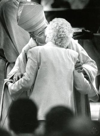 Image: di89969 - Bishop James Kendrick Williams kisses his mother, Mrs. Nancy Williams.