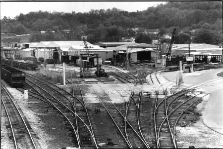 Image: di90605 - Ortner Freight Car Company as seen from foot bridge across tracks.