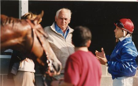 Image: di91346 - Jockey Pat Valenzuela (right) talks with trainer Francois Boutin, who trained Arazi, valenzeula's mount,....
