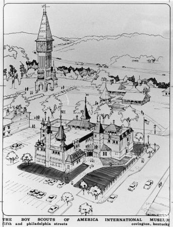 Image: di91792 - This is a 1980 drawing of a proposed museum in Covington, KY: The Boy Scouts of America International....