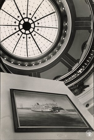 Image: di95619 - Carnegie Arts Center interior from downstairs gallery looking up toward rotunda skylight.
