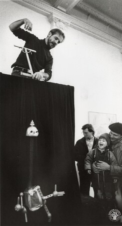 Image: di95623 - Village Puppet Theater House Manager, David Dallas doing a performance with his marionettes for the Fine....
