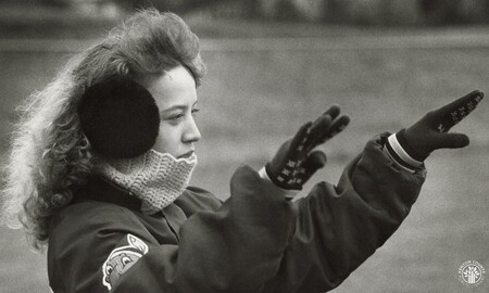 Image: di95973 - Senior field commander Wendie Morgan, 17, tries to keep her ears and neck warm as she directs the band....