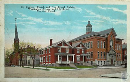 Image: kce000116posta - St. Stephen Church and New School Building, Washington Avenue and 9th Street
