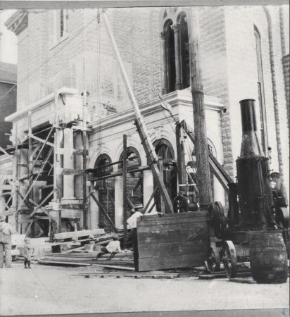 Image: kce001002photo - St. Aloysius Church portico desinged by S. Hannford and Sons, during construction; note old steam hoist....