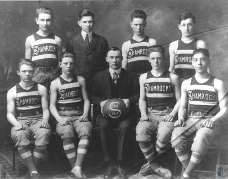 Image: kce001277photo - Back L-R: C. Malone, Joe O'Connell, Thomas Redmond, Pierce Redmond. Front L-R: Bud Clark, Willie Porter,....