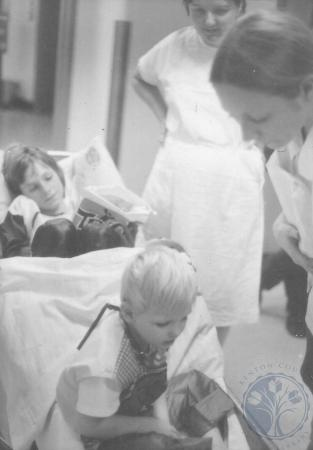 Image: ste001048037a - Pediatrics Halloween. Two children experience trick or treating in the hospital.