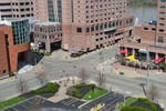 di128398 - View looking towards Mariott Hotel, deserted ...